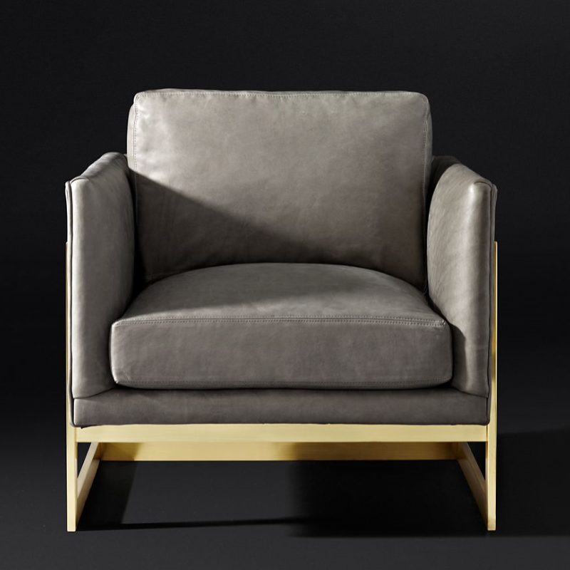 modern furniture leather chair stainless steel gold frame single seat sofa