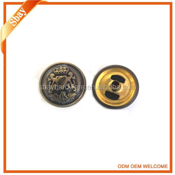 Custom embossed logo four part snap button for jacket