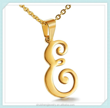 High polish stainless steel gold cheap wholesale letter e pendant necklace SSN-203