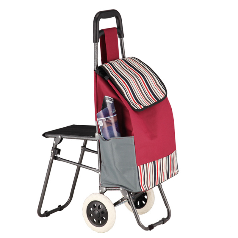 custom detachable folding trolley shopping bag with chairs