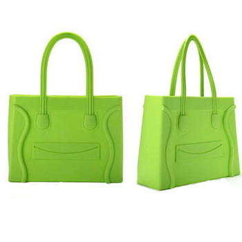 61277bc802 Colorful Jelly handbag  silicone transparent bags cany women tote bags