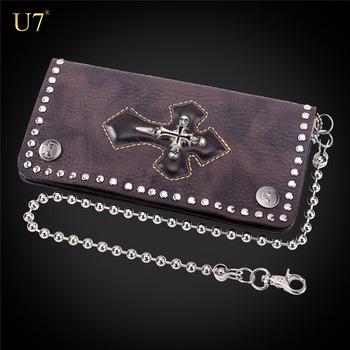 d7ab748b8fe6 U7 коричневый пояса из натуральной кожи для мужчин s кошелек Череп Крест  панк Винтаж длинный с