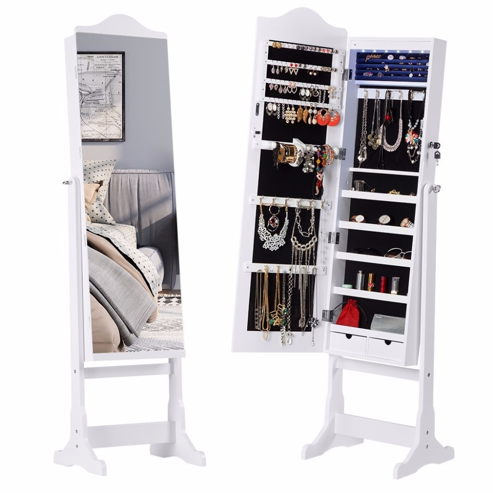 wholesale wall mounted park mirrored jewelry dressers case organizer storage closet