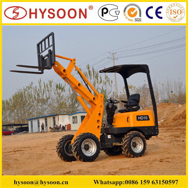 Hysoon Hd10l Mini Wheel Loader With Fork And Bucket