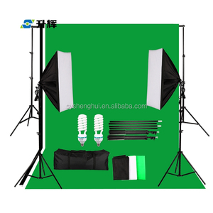 Green Muslin Backdrop Kit with Premium Studio Video Lighting Overhead Boom Light Kit