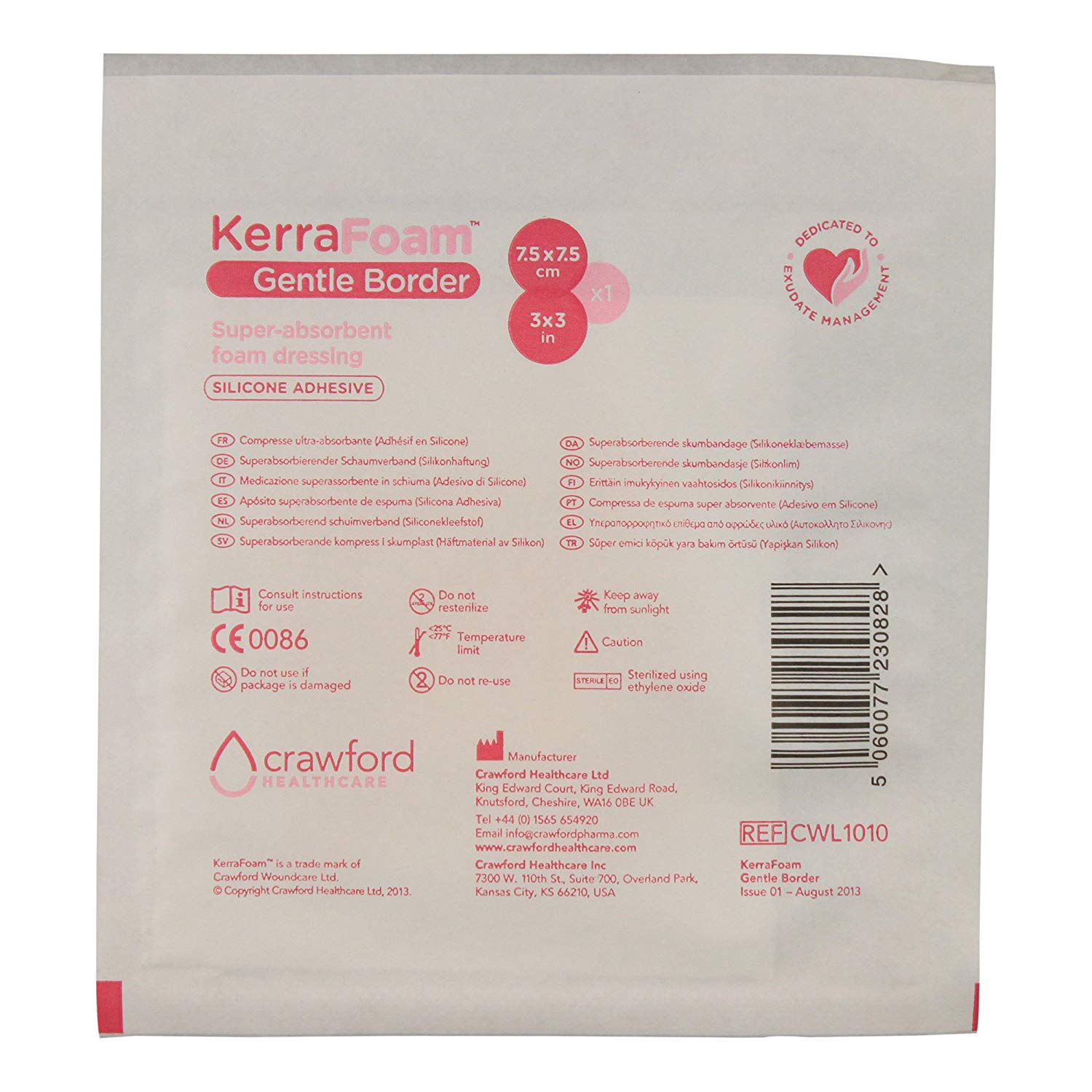 """KerraFoam 3"""" x 3"""" Gentle Border Foam Dressing for Wound Care (CWL 1010) - AIDS Wound Healing by Absorbing and retaining Drainage While Being Gentle on The Surrounding Skin. (1 Each)"""