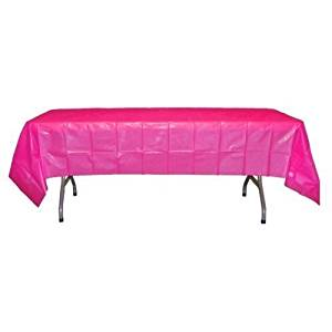 Hot Pink / Cerise Plastic Table Cover (54in. W. x 108in. L)