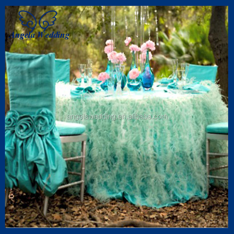 Ch030b Fancy Wedding Ruffled Taffeta Tiffany Blue Chair