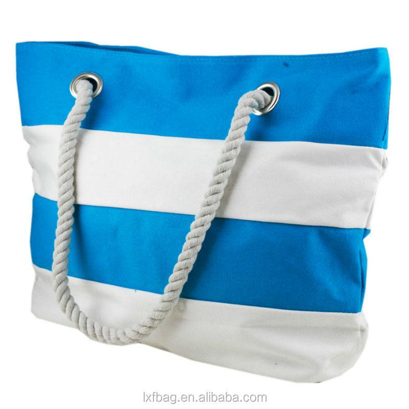 cd022ec3f3 Stripe Canvas Beach Tote Bag Wholesale Rope Handle Canvas Beach Bag ...