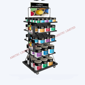 4 way display 5 tier shelf rack gondola pop retail display supermarket floor movable decorating paint can organizer