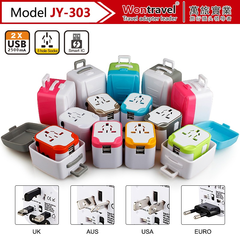 JY-303 Popular christmas gift universal travel adapter world plug adapter with cute travel case package