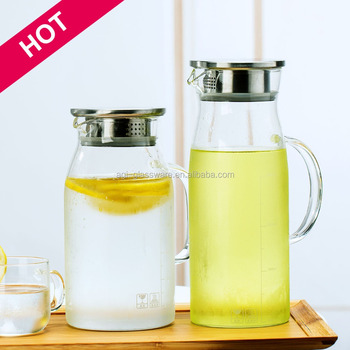 r sistant la chaleur en verre cruche d 39 eau avec couvercle buy product on. Black Bedroom Furniture Sets. Home Design Ideas