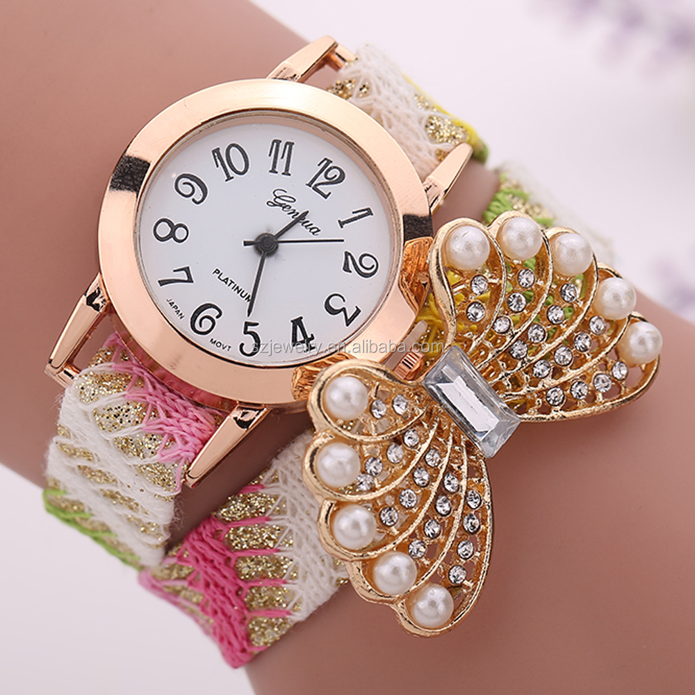 New Fashion Women Quartz Watch Hand Watches For Lady With Peal and Diamond Making Butterfly Womans Bracelet Watch