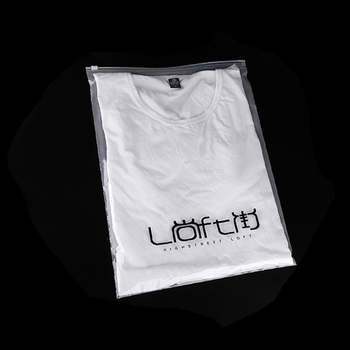 Custom transparent own logo print resealable plastic packing bag with ziplock for clothes shoes