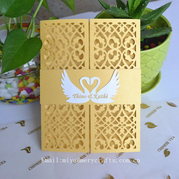 personalised love swan invitation wedding with band, wedding invitation diy