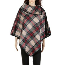 Hot Winter Frauen Monogramm <span class=keywords><strong>Plaid</strong></span> Poncho