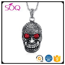 Wholesale new style men punk stainless steel skull skeleton red zircon pendant jewelry bijoux necklace