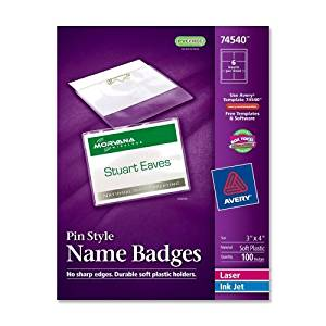 "Wholesale CASE of 10 - Avery Laser/Inkjet Pin Style Name Badge Kits-Name Badge Kit,w/ Inserts,Top Load,3""x4"",100/BX,WE"