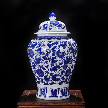 H54cm Chinese Blue And White Ceramic Porcelain Antique Large Ginger Jars