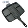 Divided cast iron skillet 5 in 1 multi section frying master pan