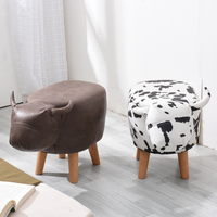 Sample Free Children Animal Shaped Ottoman Stool With Leather For Kids