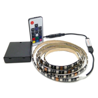 Battery Led Strip IP65 Light Waterproof 2m/1m/0.5m 5050 SMD RGB/Warm/Cool LED Flexible Strip Tape String Lamp with Battery Box