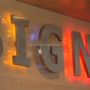 LED backlit custom made stainless steel company logo sign