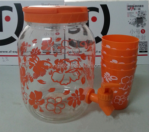 Plastic cold water kettle with 4 cups for drinking