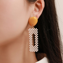 Fashion Exaggerated Geometric Imitation Pearl long Earrings Woman Beautiful Temperament White Pearl Earrings Women Wholesale