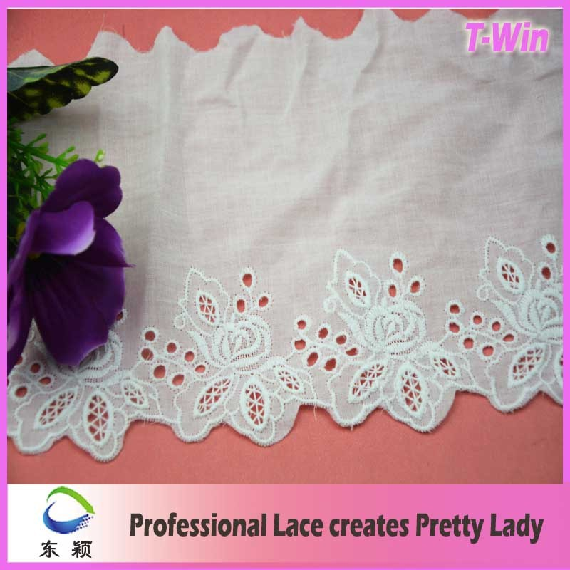 China Fujiang factory directly supply good price/12cm fancy rose cotton lace trim for cloth