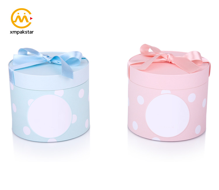 Unique recycle paper custom logo print small round fancy jewellery gift box with ribbon