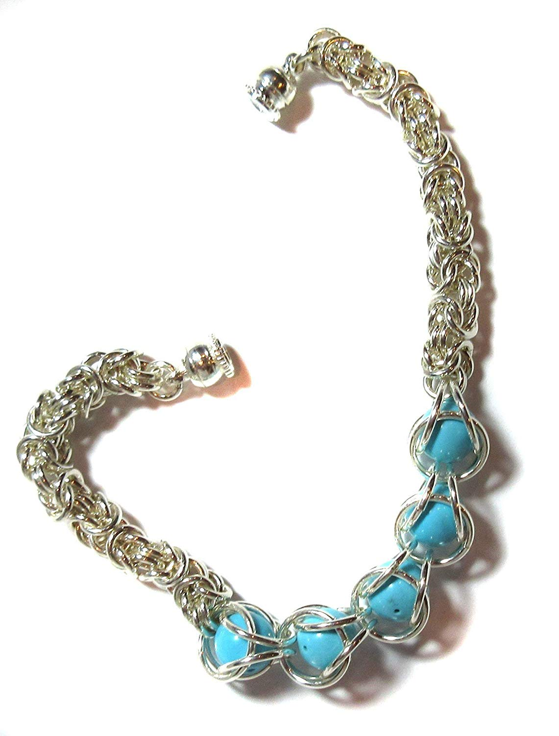 Byzantine Basket Turquoise Gemstone Bracelet Exquisite Ancient Byzantine Link With Free Floating Captured Turquoise Beads Substantial 18 gauge .925 Sterling Silver Toggle Clasp