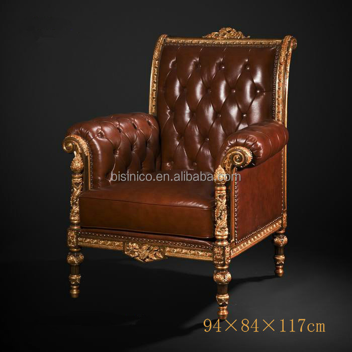 Vintage Button Tufted Upholstered Leather Sofa Chair Royal