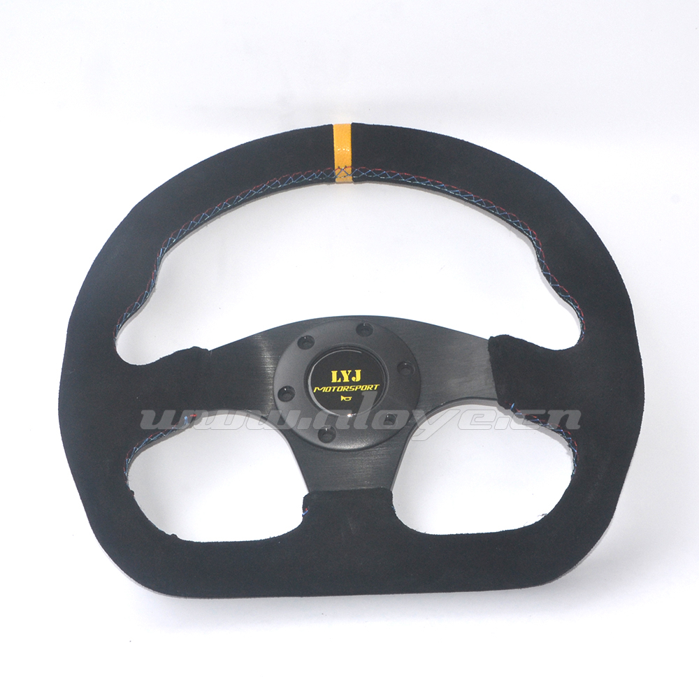 New Arrival 13 inch Suede Leather Racing Steering Wheel With 3 Color Stitch