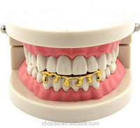 2017 New Custom Fit Light Yellow Gold Color Rose Gold Plated Hip Hop Teeth Drip Grillz Caps Lower Bottom Grill Silver Grills