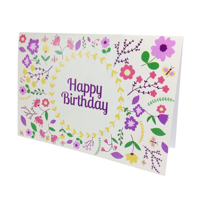 Factory Directly Wholesale Beautiful Colored Happy Birthday Greeting Card