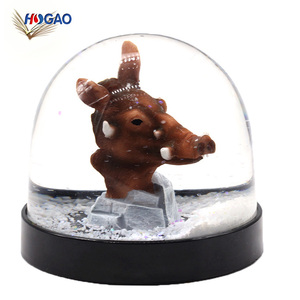 China wholesale gifts & crafts glitter water ball collectible figurine animal wild pig snow globe