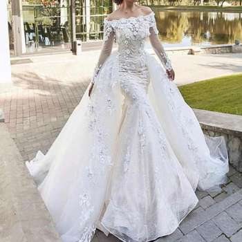 Long Sleeves Off Shoulder White Lace Luxury Mermaid Trumpet Alibaba Wedding Dresses With Overskirt Buy Long Sleeves Mermaid Wedding Dresses Luxury