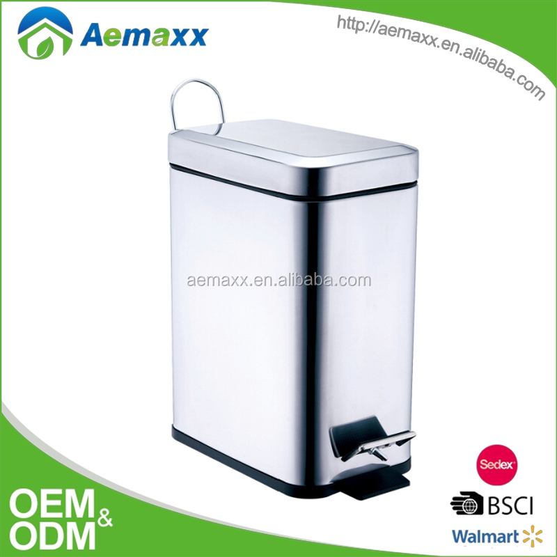 Pretty and colorful rectangle square stainless steel powder coating pedal bin