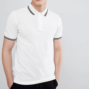 wholesale slim fit men twin tipped polos with contrast ribbed collar