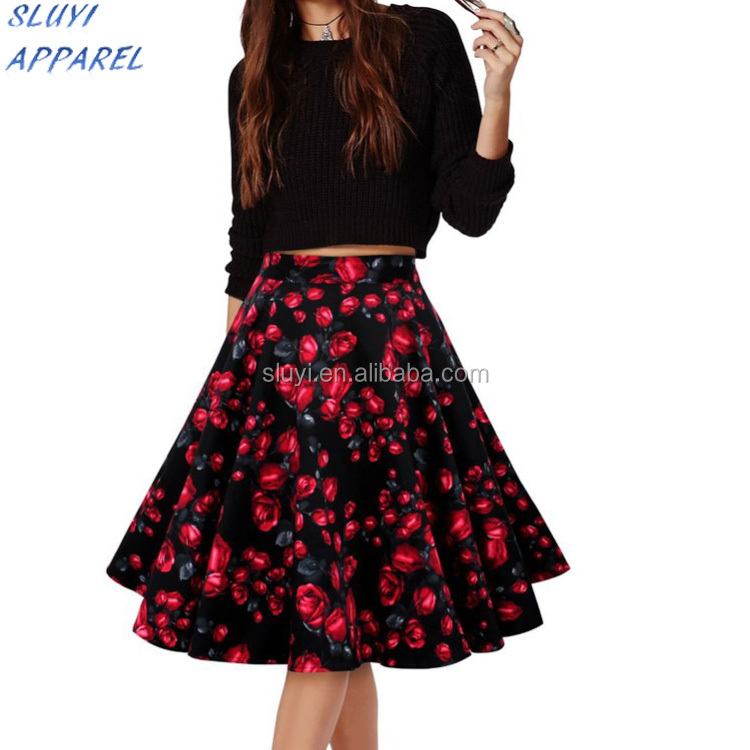 Women's Vintage Rockabilly Polka Dot Floral Print High Waist Ball Gown Cuite Party Casual Summer Skirts,Floral Print daily skirt