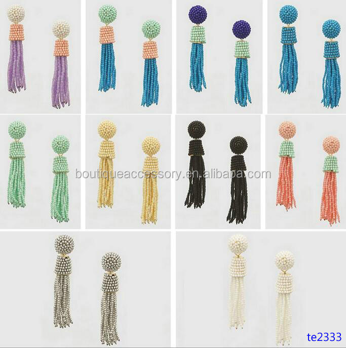 Artificial Big Multi Seed Beads Tassel Hoop Earrings Wholesale
