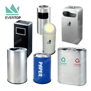 Indoor Office Shop No Cigarette Flat Top Garbage Can Stainless Steel Sanitary Garbage Trash Bin Public Waste Receptacle Bin