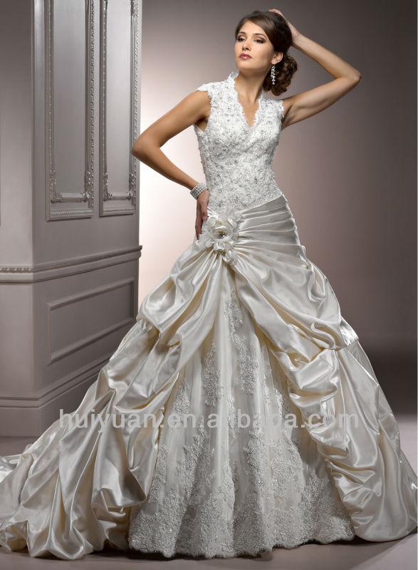 2015 románticos a-line cuello alto vestidos de novia de encaje sin