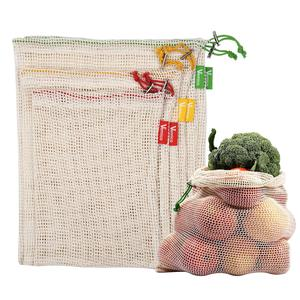 ECO FRIENDLY ORGANIC MESH FOOD VEGETABLE 100% PRODUCE COTTON DRAWSTRING MESH NET BAG