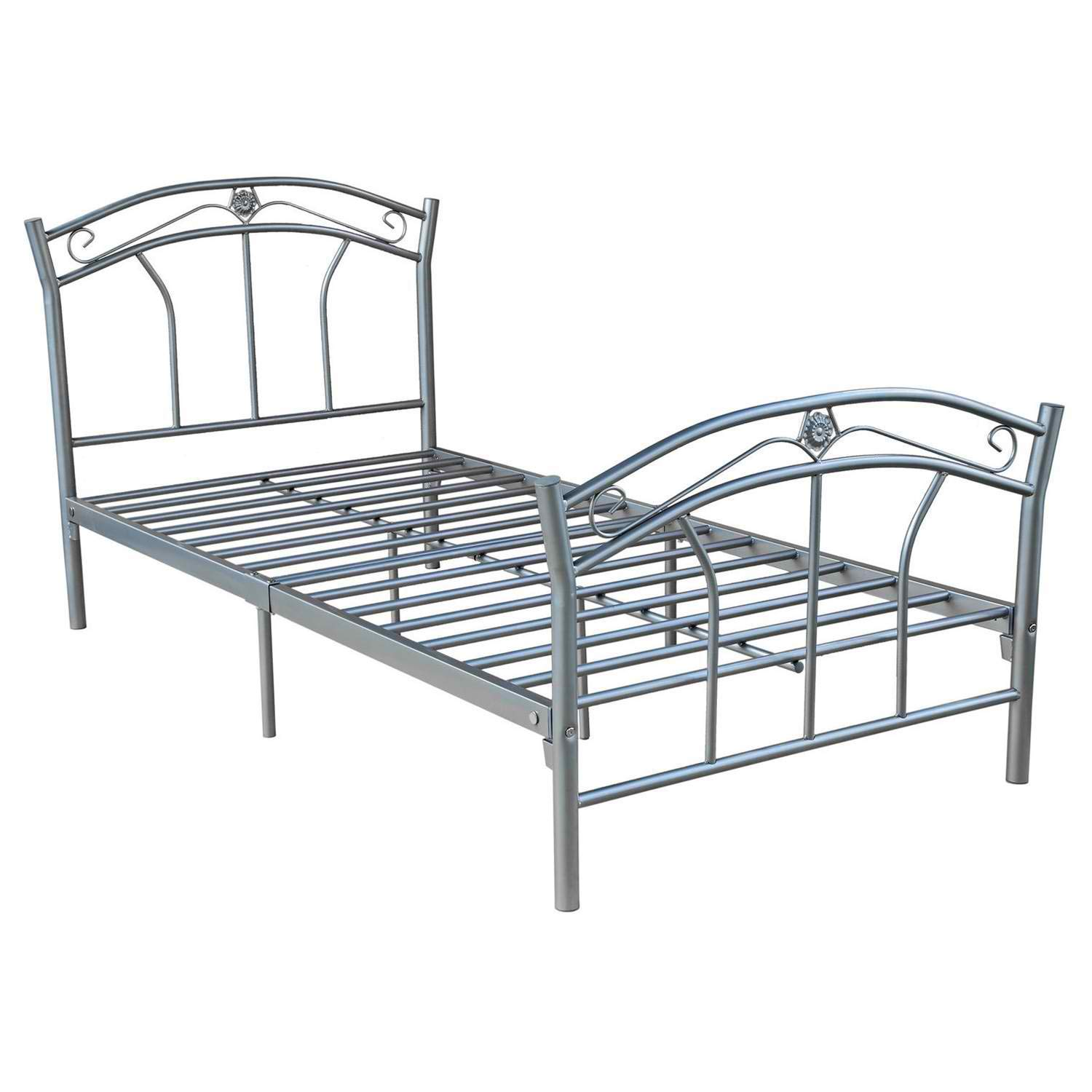 BeUniqueToday Twin Size Silver Metal Platform Bed Frame with Headboard and Footboard, Strong and Sturdy Metal Framework Bed Frame, Features A Contemporary Style and Can Complement Any Room Decor
