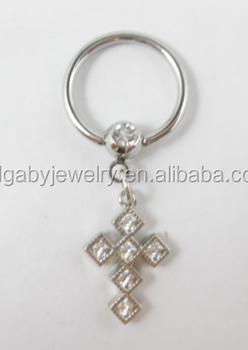 Gem cross 316l surgical steel nipple piercing body jewelry for Pierced nipple stretching jewelry