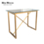 Indoor or outdoor glass top stainless steel gold base cross leg high bar table