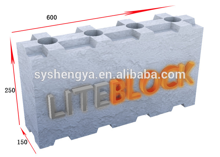 Lightweight Interlocking Dry Stacked Concrete Block With