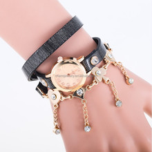 Fashion Women Vintage Leather Strap Watches Set Auger Bracelet Women Dress Watches BWL008